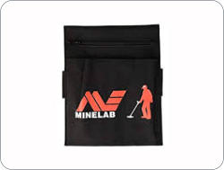 Minelab treasure pouch with internal pockets, velcro and zipper. Rugged construction.